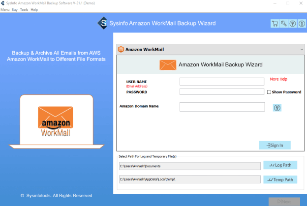 amazon workmail backup tool, amazon workmail backup software, amazon webmail backup tool, amazon webmail backup software,  amazon workmail to office 365,  aws workmail to pst, amazon workmail to outlook