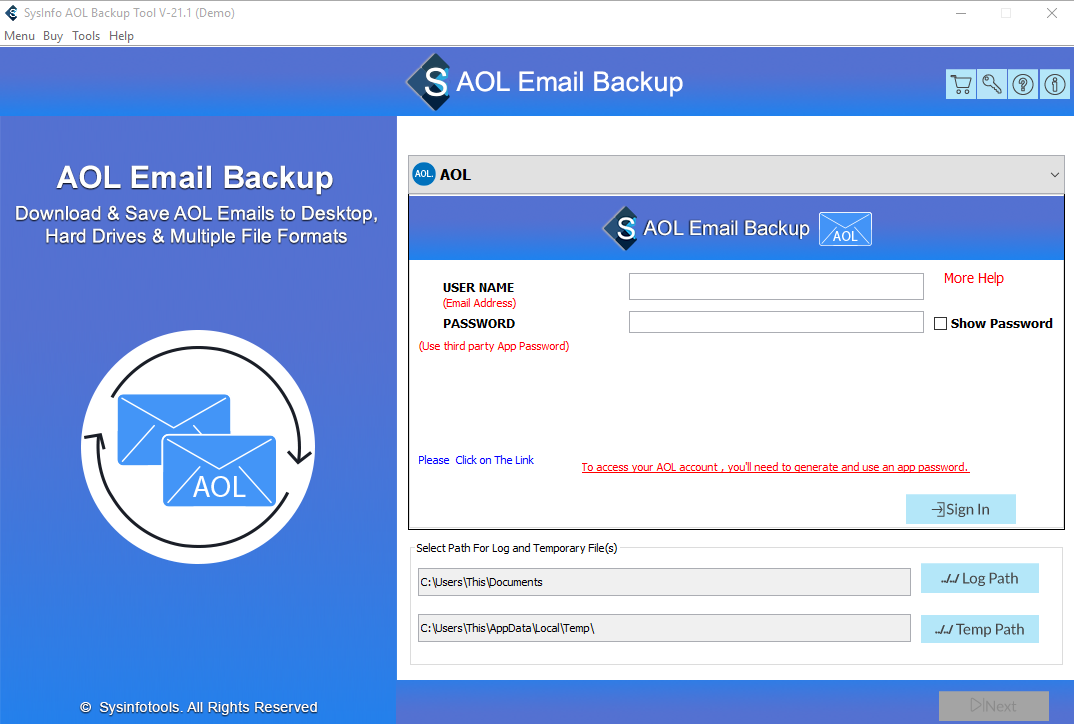 SysInfoTools AOL Mail Backup Tool full screenshot