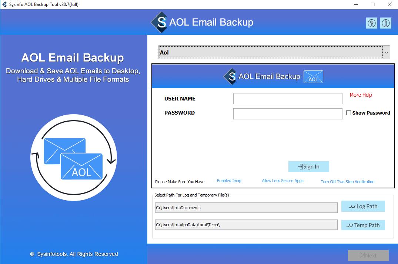 Click to view SysInfoTools AOL Mail Backup Tool 20.0 screenshot