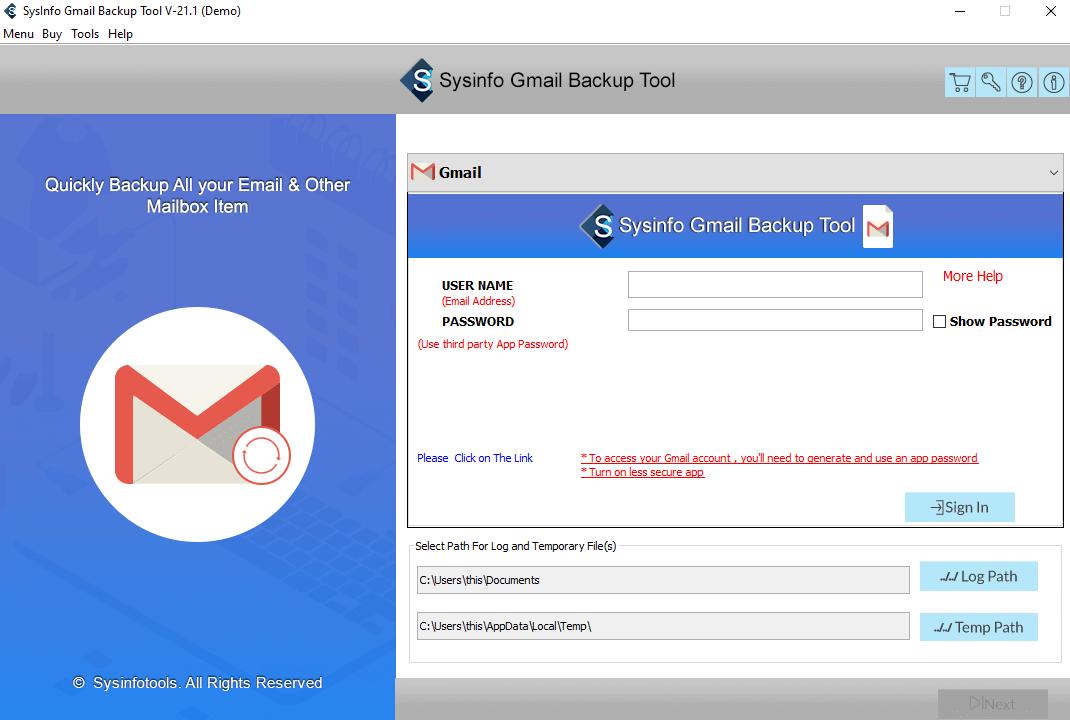 SysInfo Gmail Backup Tool full screenshot