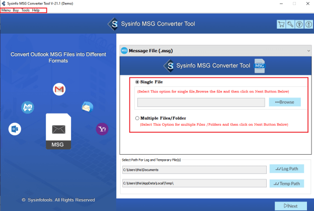 SysInfo MSG to EML Converter