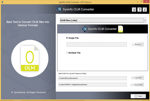 SysInfo OLM Converter full screenshot