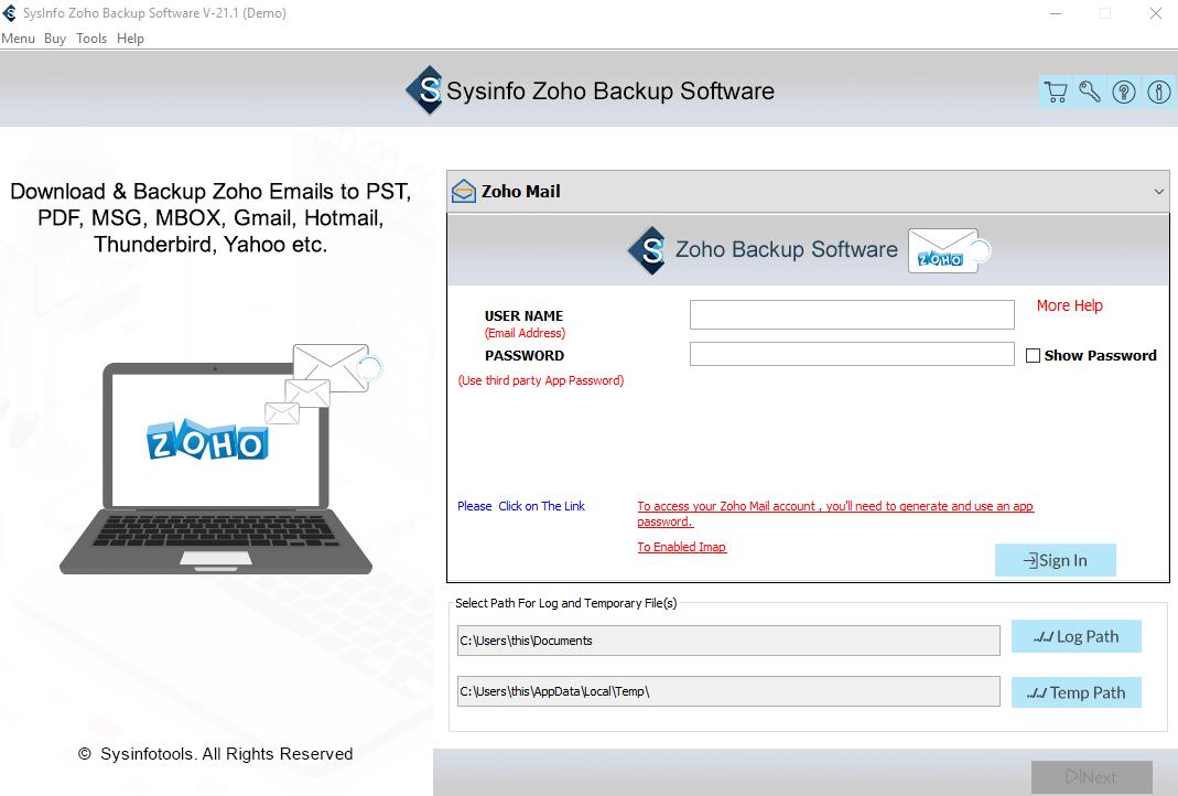 SysInfo Zoho Backup Tool