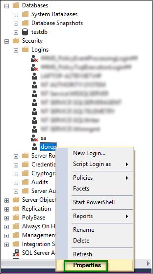Reset SQL password properties