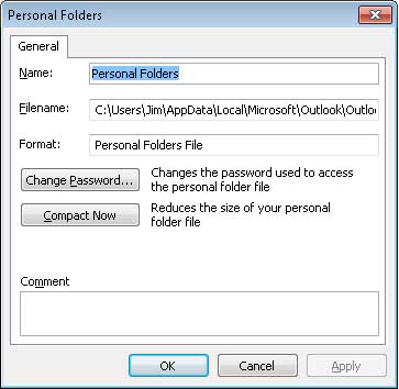 set password in outlook