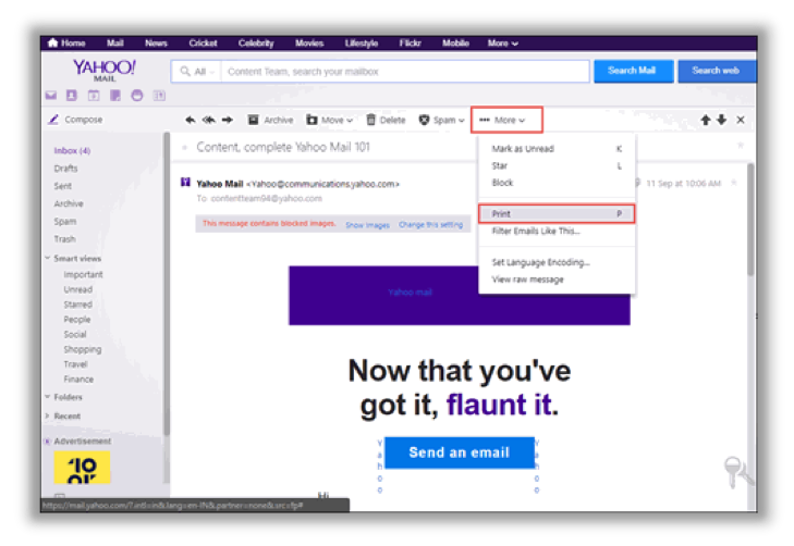 save yahoo email as pdf format