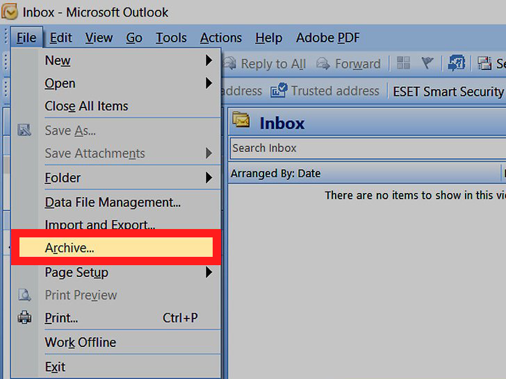 recover archive in outlook