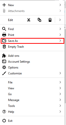 click on save as option