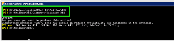 dismount and navigate Exchange database