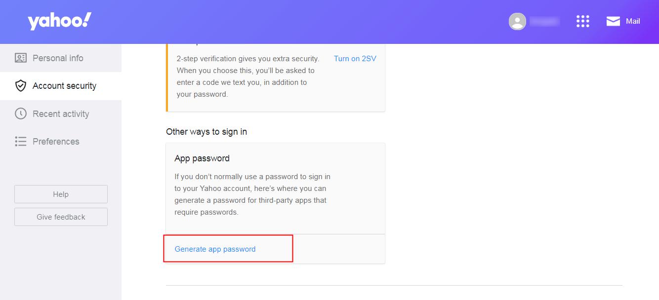 click on generate app password
