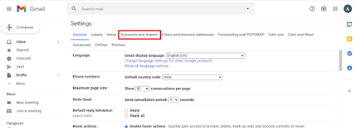 select account and import