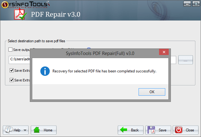 PDF Repair Screen shot
