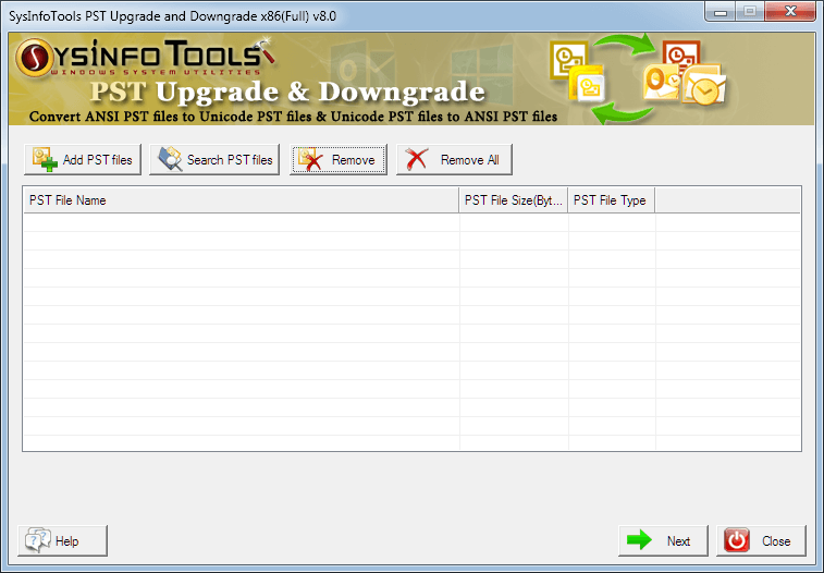 Click to view PST upgrade and Downgrade 8.01 screenshot