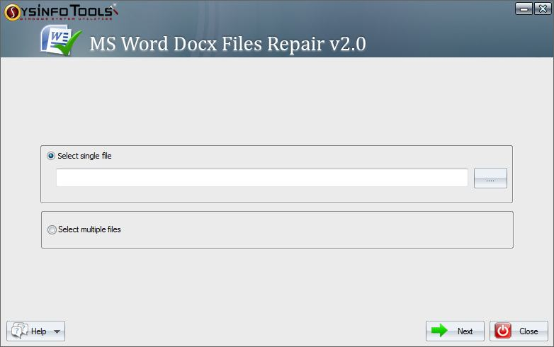 SysInfoTools MS Word DOCX Recovery full screenshot