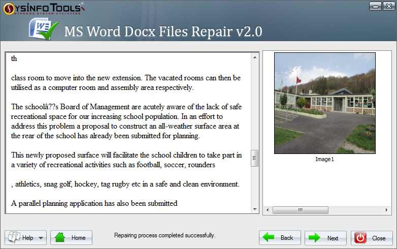 SysInfoTools MS Word Docx File Recovery 2.0 Screen shot