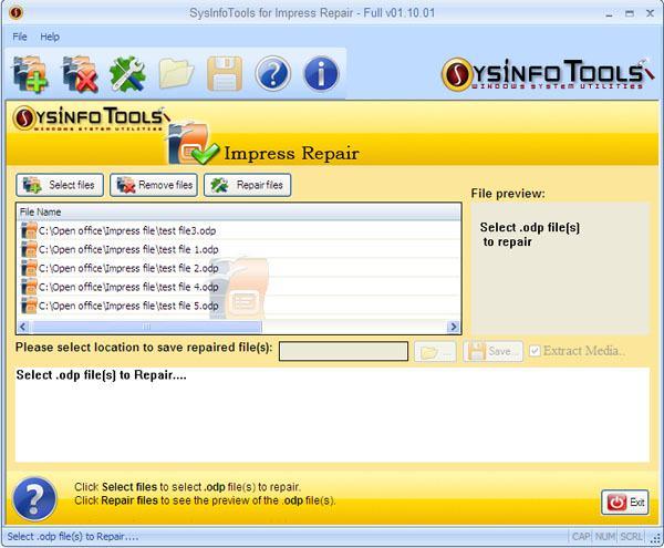 SysInfoTools Impress Repair screen shot