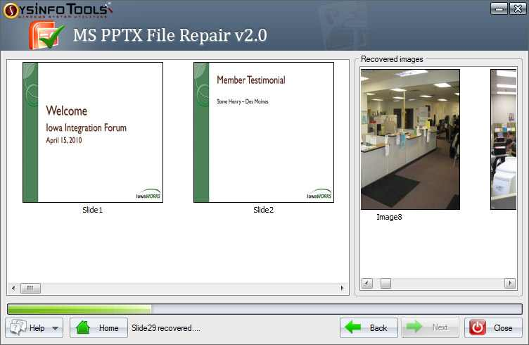 MS PowerPoint PPTX Recovery Screen shot
