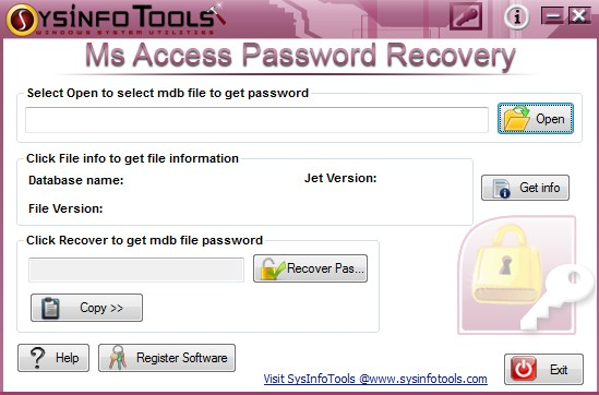 Access database MDB password recovery tool