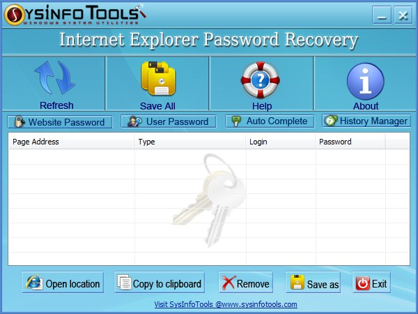 Recover internet explorer saved passwords, form passwords and saved websites.