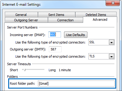 Outlook settings for gmail