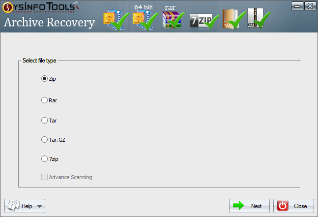 SysInfo Archive Recovery Tool full screenshot