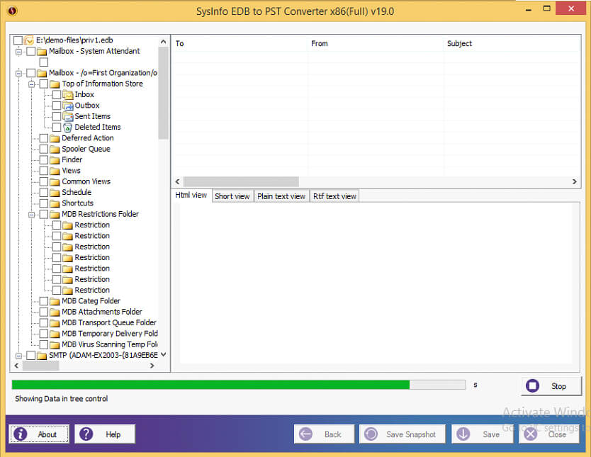 successfully scanned slected edb file