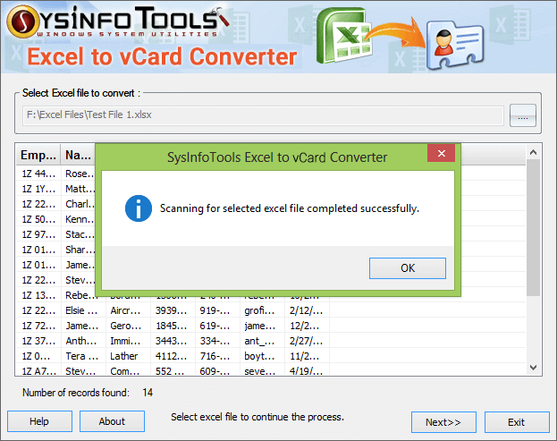 SysInfoTools Excel to vCard Converter