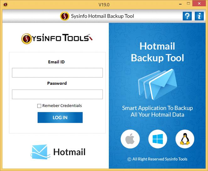 SysInfoTools Hotmail Backup Tool screenshot