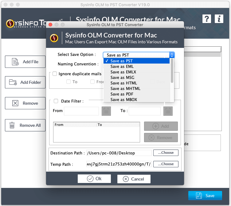 SysInfoTools MAC OLM Converter full screenshot