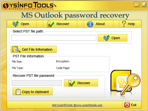 SysInfoTools Outlook Password Recovery Screen shot