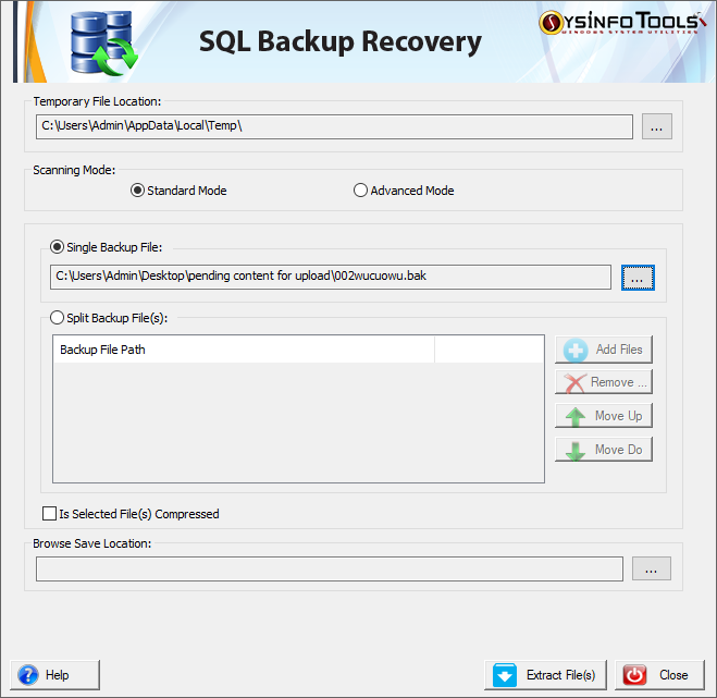 SysInfoTools SQL Backup Recovery screenshot
