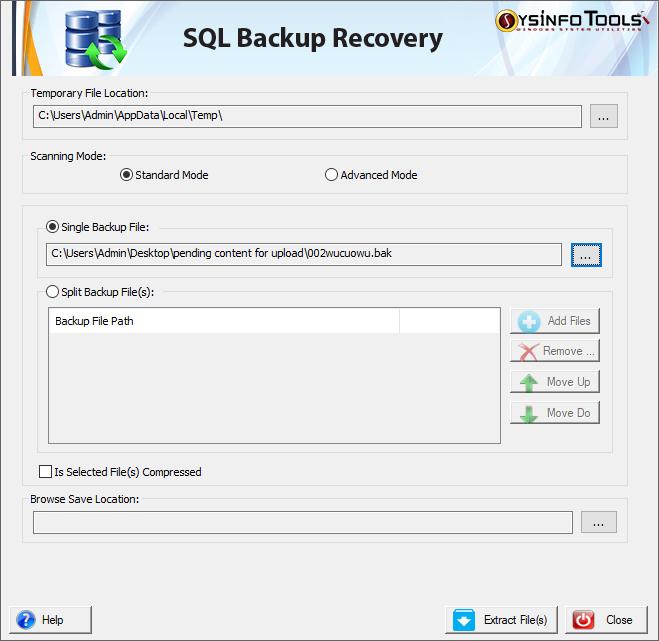 SysInfoTools SQL Backup Recovery Tool full screenshot