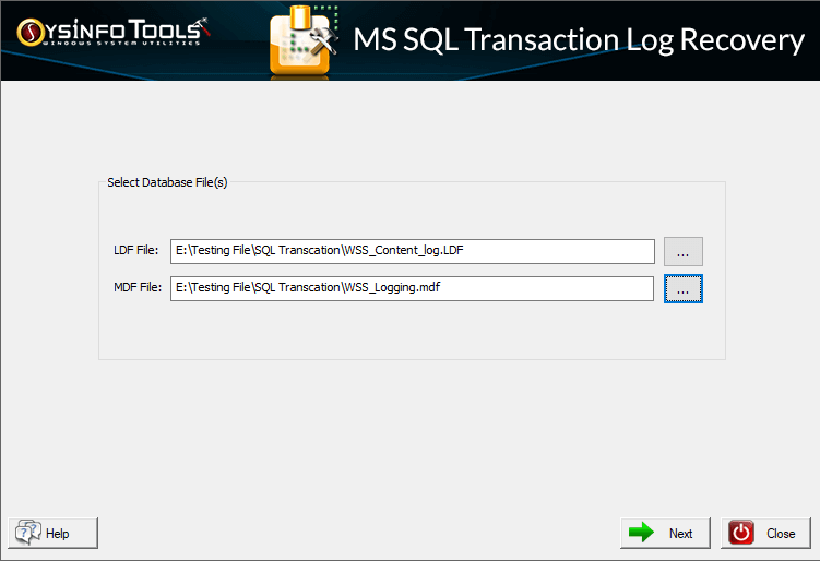 SysInfo SQL Transaction Log Recovery full screenshot