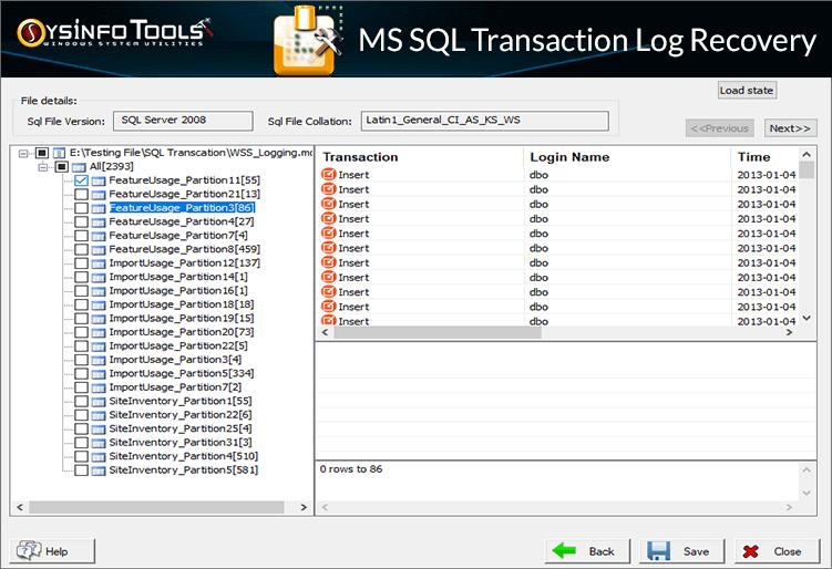 SysinfoTools SQL Log Analyzer Tool full screenshot