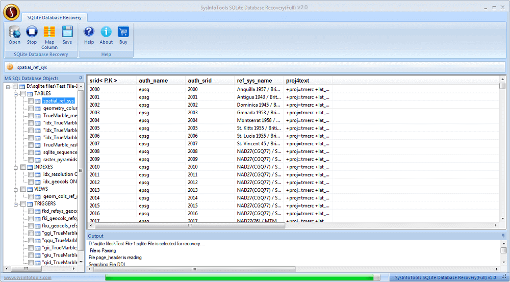 SysInfoTools SQLite Database Recovery full screenshot
