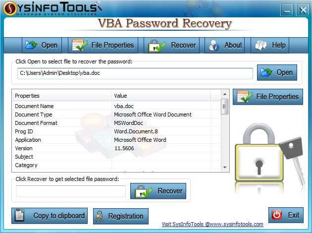SysInfoTools VBA Password Recovery full screenshot