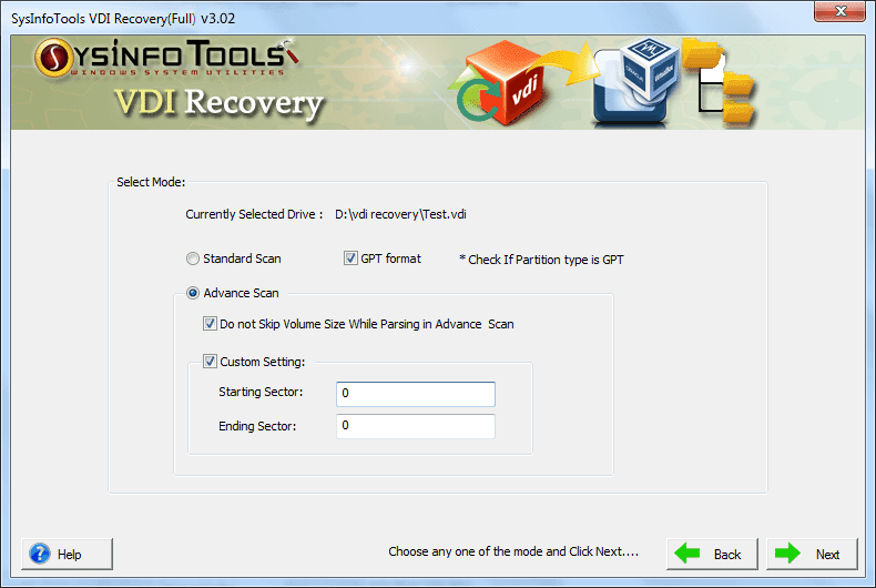 SysInfo VDI File Recovery Software full screenshot