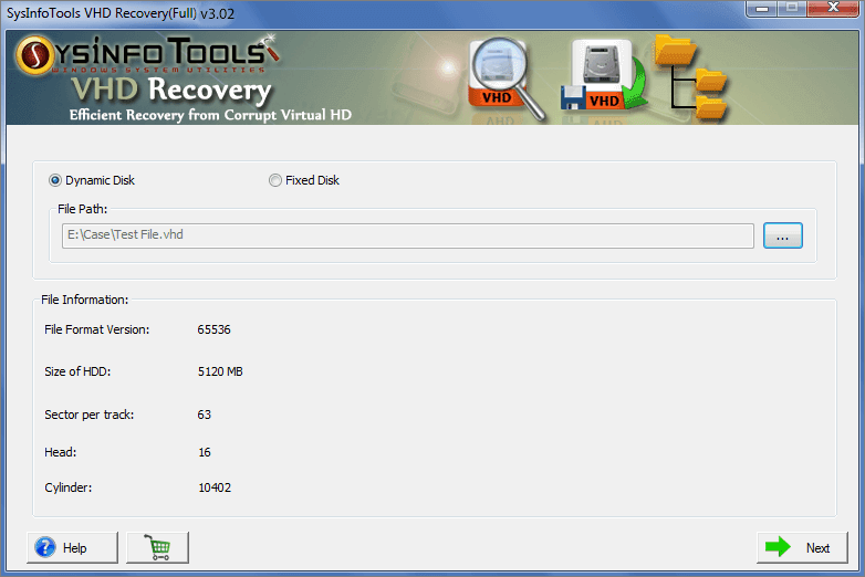 VHD Recovery Software full screenshot
