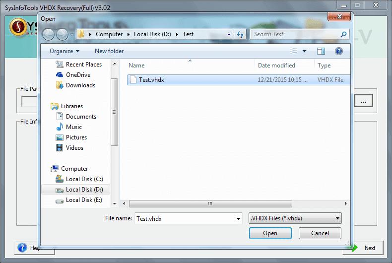 Sysinfo VHDX Recovery Software full screenshot