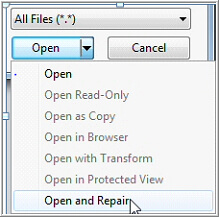 Open and Repair file