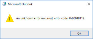 Outlook error 0x80040119